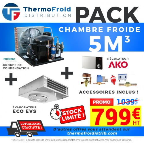 Pack chambre froide positive 5M3 0/+5°C Thermofroid Distribution