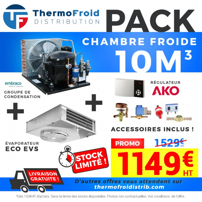 Pack chambre froide positive 10M3 0/+5°C Thermofroid Distribution