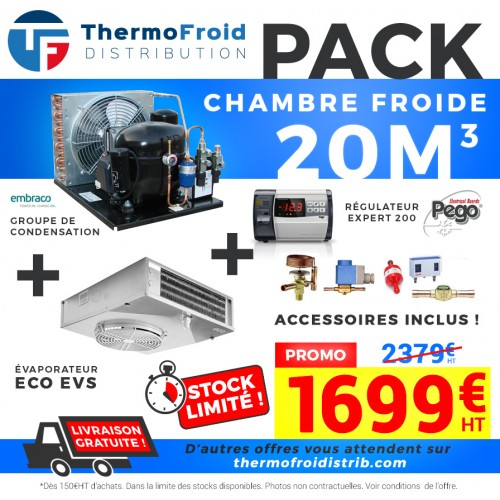 Pack chambre froide positive 20M3 0/+5°C Thermofroid Distribution