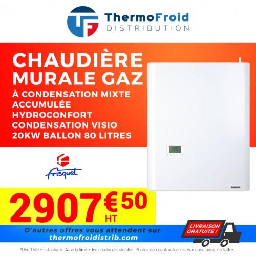 Frisquet chaudière murale gaz à condensation mixte accumulée HYDROCONFORT Condensation Visio 20kW ballon 80 litres