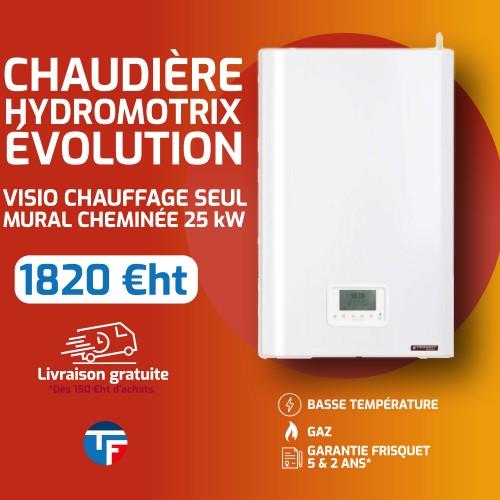 Frisquet hydromotrix évolution visio chauffage seul sortie cheminée 25Kw