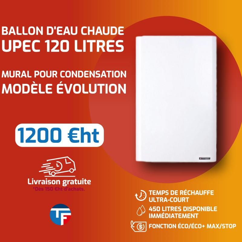 Ballon d'eau chaude UPEC 120 litres mural pour condensations et modèle EVOLUTION